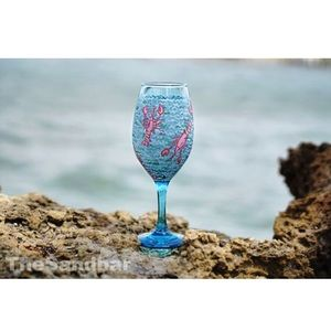 Hand painted Wine Glass Lilly Inspired Lobster